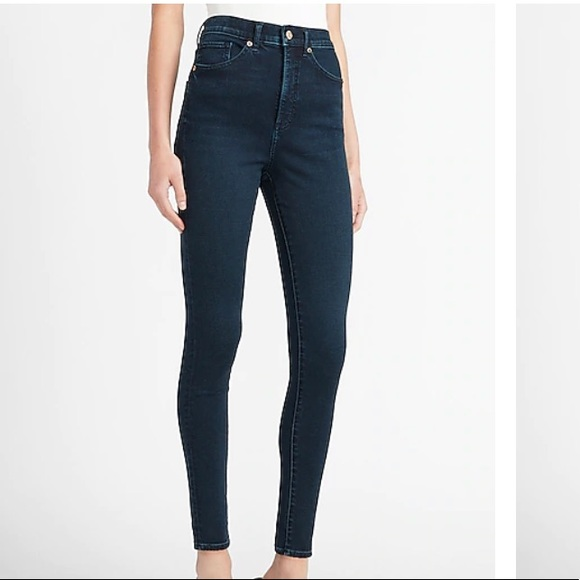 Express Super High Waisted Dark Wash Skinny Jeans